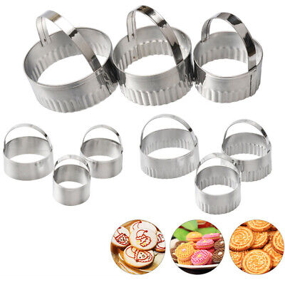 Round Circular Cutter Fluted Grooved Baking Pastry Double-sided Cookie Cutters