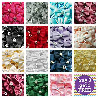 10 x 3.5cm Satin Ready Made Mini Ribbon & Pearl Craft Bows Bow Ties - 18 COLOURS