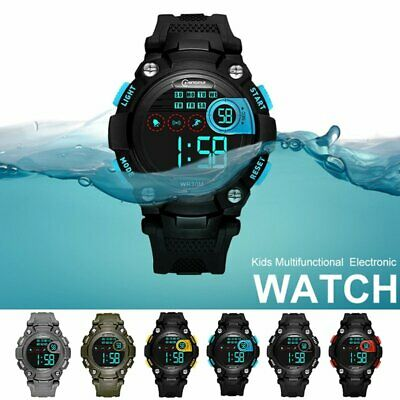 Electronic Digital Watch LED Alarm Outdoor Sports Waterproof Safety for Kids Boy