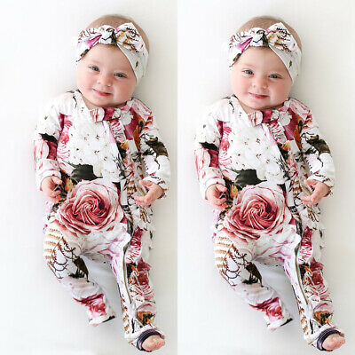 Newborn Kid Baby Girl Floral Warm Bodysuit Romper Ruffle Jumpsuit Clothes Outfit