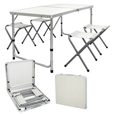 Catering camping heavy duty folding trestle table picnic BBQ 4ft +4 chairs white
