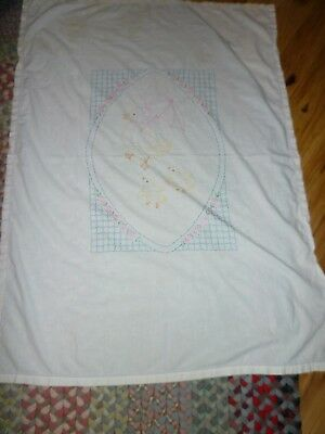 Vintage 1940'S Embroidered Baby Sheet ~Ducks~