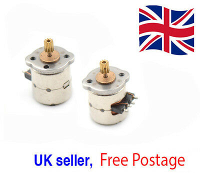 3-5v dc 2 Phase 4 wire 8mm diam. Stepper Motor 8x9.5mm & copper gear UK Seller *