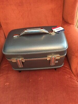Vintage SAMSONITE SILHOUETTE Travel Train Case Luggage BLUE Vanity & Tray
