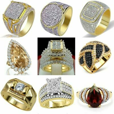 Cool 18K Yellow Gold Plated White Topaz Square Ring Women Wedding Proposal Gift
