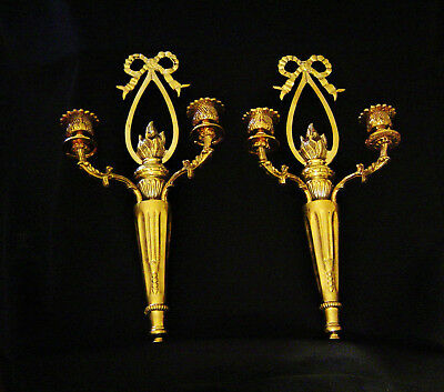 Pair of Antque solid brass Sconces with two candleholders Circa 1910