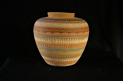 Beautiful Navajo Multi-Colored Vase Artist Signed