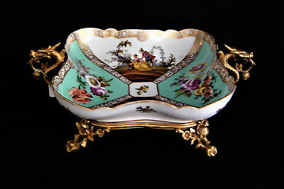 Handpainted Dresden Bowl with a Gilt Bronze Holder Circa 1850