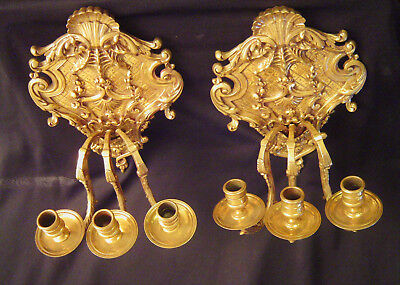 Pair of Exceptional Solid Brass Sconces Circa 1850