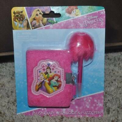 NEW Girls Mattel Disney Princess Pink Plush Diary with Lock & Fuzzy Pen