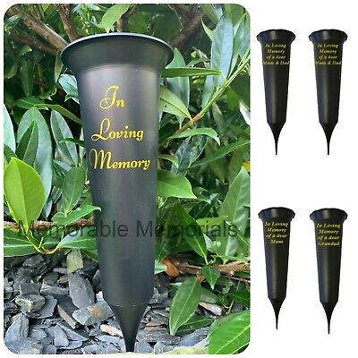 Memorial Plastic Black Flower Vase Grave Crem Spike Vase Pot Remembrance Tribute