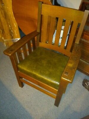 Antique 1930's-40'sJ.M. Young & Sons Mission Oak Arm Chair, Camden, NY