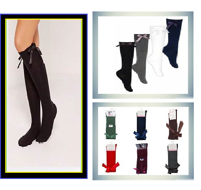 GIRLS Ladies Kids Back To School Plain Knee High Socks + Bow UNIFORM 4-6 To 6-9