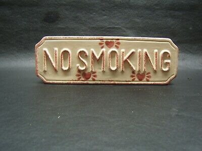 Vintage  Loomco Sponge Painted No Smoking Sign For Desk Or Wall Hanging Ceramic