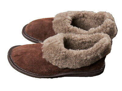 Ladies Sheep Wool Slippers Brown Hard Sole Size 3 4 5 6 7 8 Women's Moccasin
