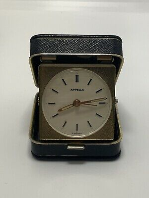 Vintage Appella 7 Jewels Swiss Leather Alarm Travel Clock Runs Stops L@@K Read