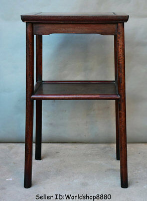 """28.8"""" Antique Old China Huanghuali Wood Dynasty Double Layer Flower stand Shelf"""