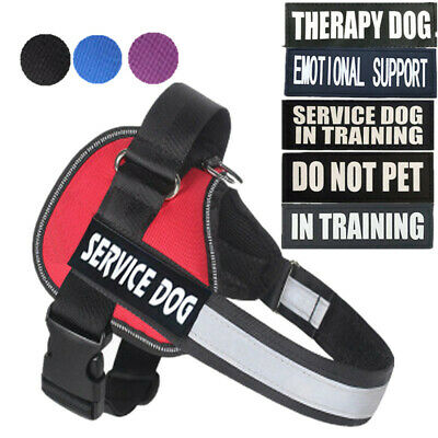 Reflective Service Dog Vest Harness W/ Removable Patches EMOTIONAL DO NOT PET