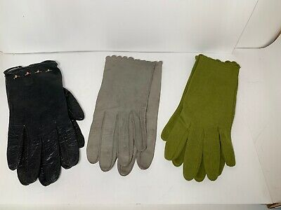 Pair Vintage Woman's Dress Gloves Brown Black White Leather Cotton 3pairs