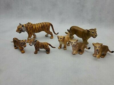 Schleich Animal figure lot of 7 tigers & lions mom and cubs jungle (PA28)