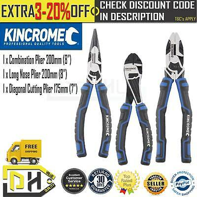 Kincrome 3 Pc Plier Set Combination Long Nose Pliers Diagonal Cutter 200Mm 175Mm
