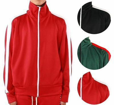 Men's Track Jacket Full Zip Paneled Active Sweater Black Red Green