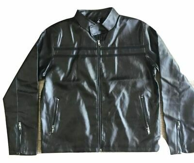Hawks Bay Men's Classic Faux Leather Jacket Black Striped Zip Up Mock Neck