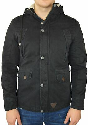Maximos Men's Coat Hooded Jacket Faux-Fur Lining Black Black