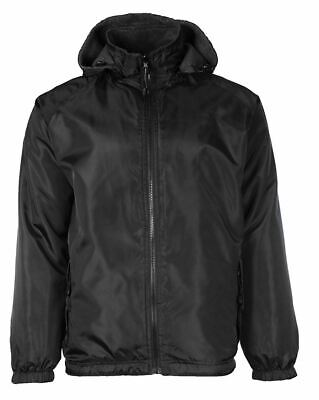 Maximos Men's Water Resistant Reversible Hooded Jacket Windbreaker Black
