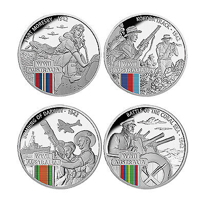 2017 $1 WWII 1942 Defending a Nation Silver Plated 4 Coin Set