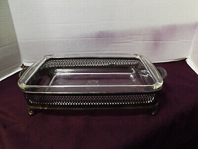 Silver Plated (FB Rogers) Footed Serving Tray/Dish Holder W/Pyrex Dish