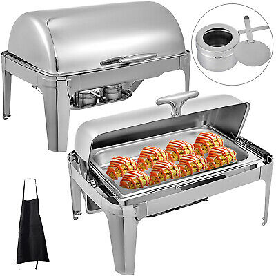 Pack Of 2 Stainless Steel Chafing Dish Sets Roll Top Food Warmers w/Apron GN1/1