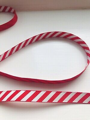 Red And White Stripe Christmas Ribbon Swirly 15mm Candy Cane