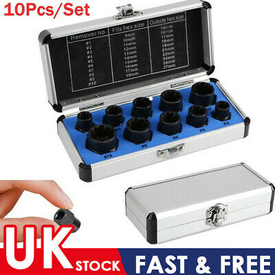 10 Pcs/Set Damaged Bolt Nut Screw Remover Extractor Removal Threading Tools Kit