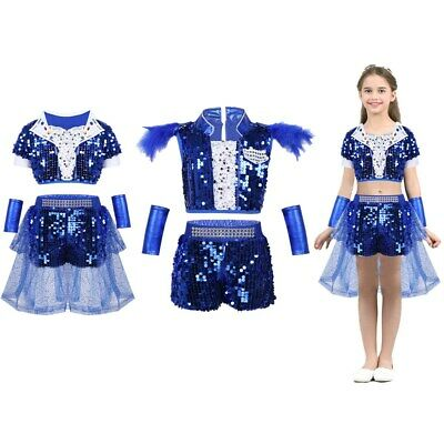 Children Girls Sequin Hip-hop Jazz Dance Outfit Costume Party Stage Modern Dress