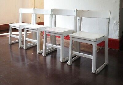 Set 4 Vintage Painted Stacking Childrens Wooden School Chairs Scandi Shabby Chic