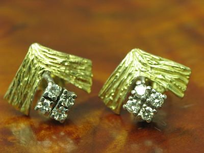 14kt 585 Bicolore Boucles D'Oreilles or 0,40ct Brillant