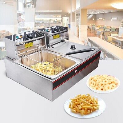 20L Commercial Deep Fryer Double Electric Basket Benchtop Cooker Stainless Steel