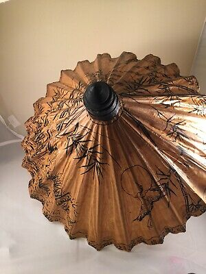 Asian Wooden Parasol Vintage Umbrella Oriental Crane Bird                    A19