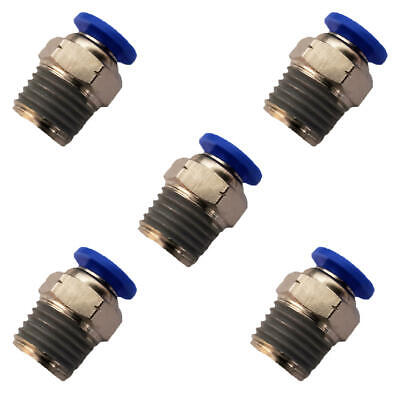 "5pcs 1/4"" OD Tube X 1/4"" NPT Pneumatic Fitting, Push To Connect Air Fitting"