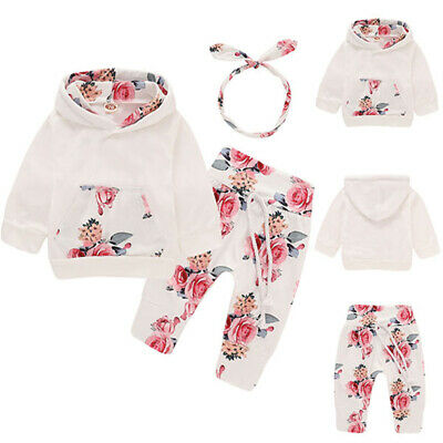 Newborn Baby Girls 3PCs Hooded Tops Pants Floral Outfit Clothes Set Tracksuit UK