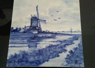 Vintage Netherlands Scene Decorative Tile - Unbranded