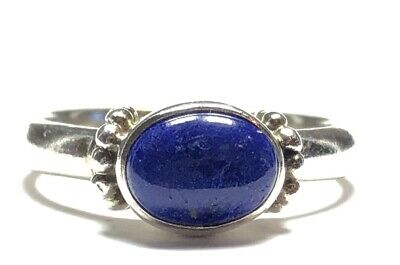 Beautiful Ladies Sterling Silver Blue Lapis Stone Ring - Size 7.75