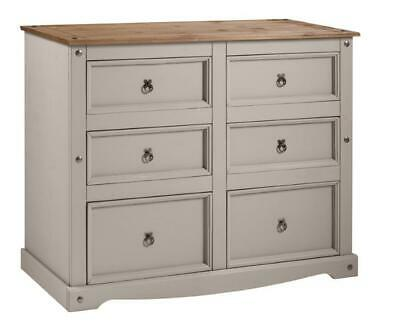 Corona Chest 6 Drawer Wide Grey Wax Chest Solid Pine by Mercers Furniture®