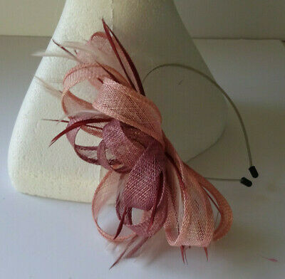 Pink/plum fascinator on headband for wedding/mother of the bride/races