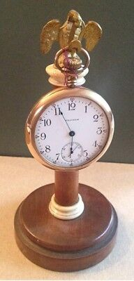 Antique English Pocket Watch Stand with Brass Eagle Topper