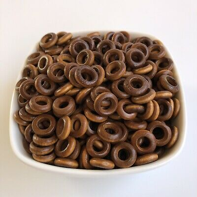 50X Round Honey Brown Wood Ring Beads 12mm Donut Shape Wooden DIY Craft Links