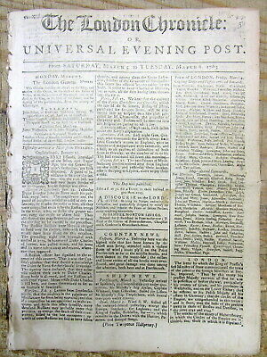 1763 newspaper wth news that The French & Indian War Treaty has been ratified