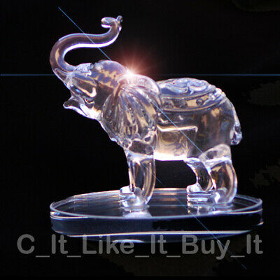 Crystal Clear Cut Glass Elephant Ornament Animal Swarovski African Statue 10cm H