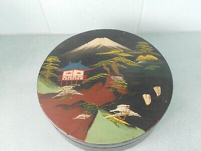 """Antique / Vintage Large Hand Painted Chinese Japanese Lacquered 8"""" Circular Box"""